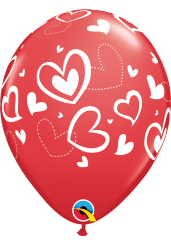 "11"" Mix Hearts - Rood (28cm)"