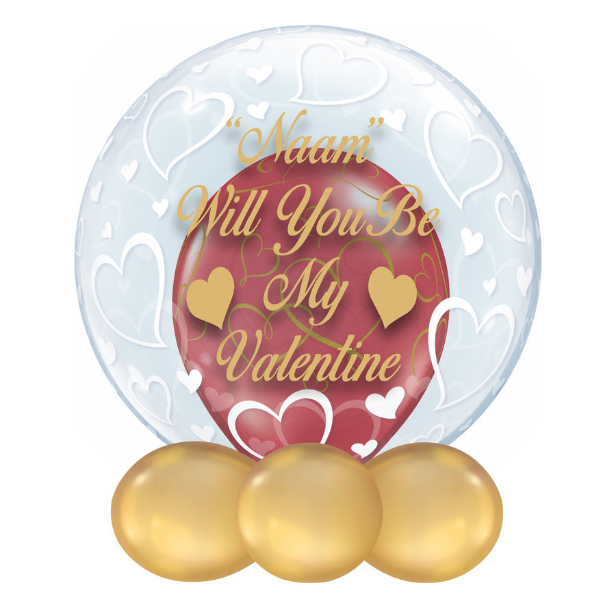 "Bedrukte Ballon - ""Naam"" Will You Be My Valentine-1"