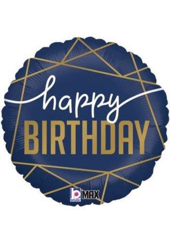 Folieballon Happy Birthday Navy & Gold
