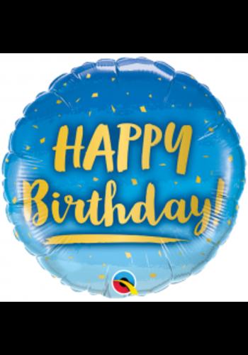 Folieballon Happy Birthday Blue & Gold