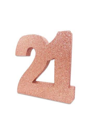 Tafeldecoratie 21 Glitter Rosé Gold - 20cm