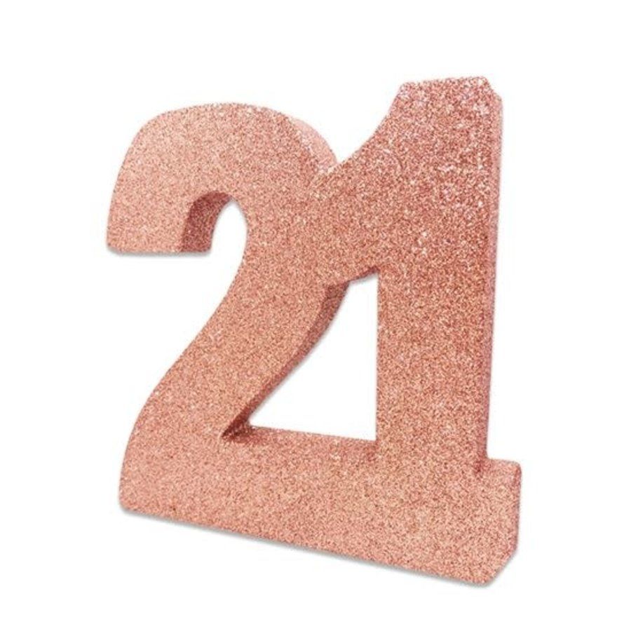Tafeldecoratie 21 Glitter Rosé Gold-1