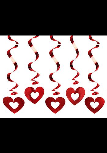 Swirls Hearts Rood - 60cm
