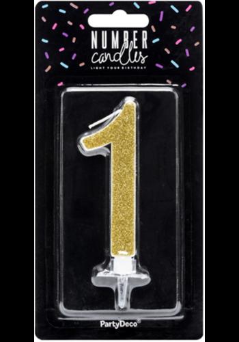 Verjaardagskaarsje 1 Goud Glitter - 10cm
