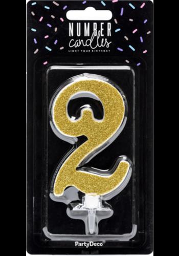 Verjaardagskaarsje 2 Goud Glitter - 10cm