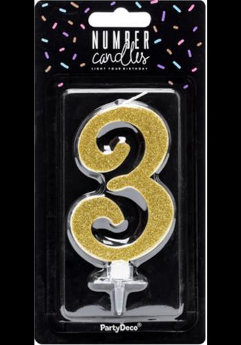 Verjaardagskaarsje 3 Goud Glitter - 10cm