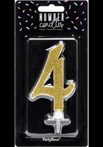 Verjaardagskaarsje 4 Goud Glitter - 10cm