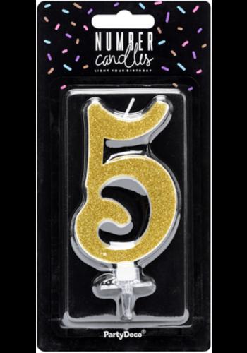 Verjaardagskaarsje 5 Goud Glitter - 10cm