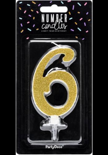 Verjaardagskaarsje 6 Goud Glitter - 10cm