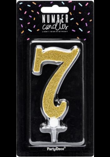 Verjaardagskaarsje 7 Goud Glitter - 10cm