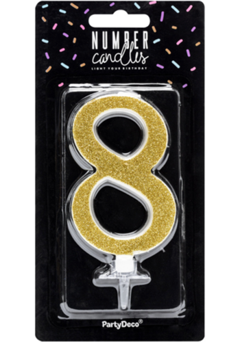 Verjaardagskaarsje 8 Goud Glitter - 10cm