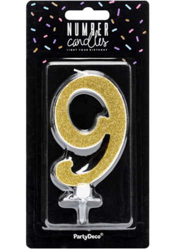 Verjaardagskaarsje 9 Goud Glitter - 10cm