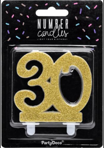 Verjaardagskaarsje 30 Glitter Goud - 7,5cm