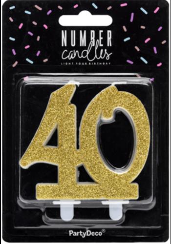 Verjaardagskaarsje 40 Glitter Goud - 7,5cm