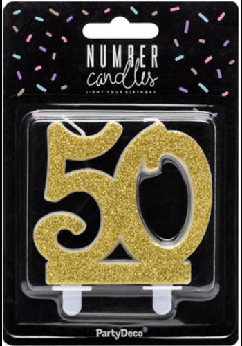 Verjaardagskaarsje 50 Glitter Goud - 7,5cm