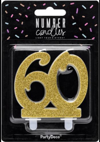 Verjaardagskaarsje 60 Glitter Goud - 7,5cm