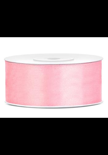 Satijn Lint Licht Roze - 25 mm x 25 mtr