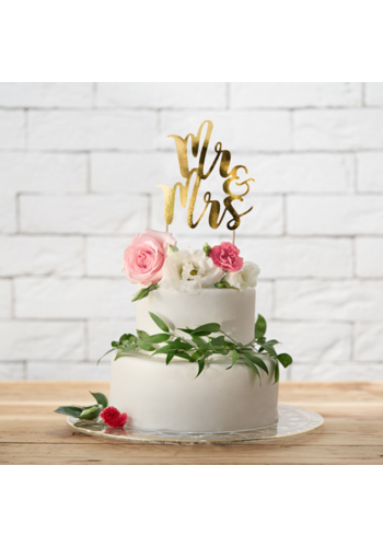 Cake-topper Goud - Mr & Mrs - 25.5cm