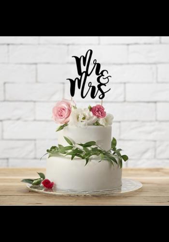 Cake-topper Zwart - Mr & Mrs - 25.5cm