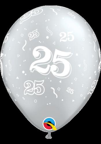 Helium Ballon 25 jaar - Zilver (28cm)