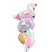 Happy Birthday Swan Balloon Set