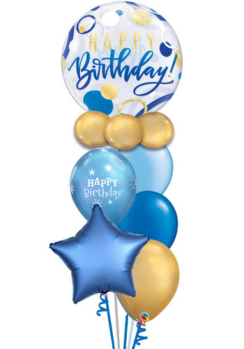 Happy Birthday Blue & Gold Balloon Set