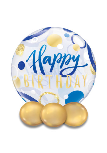 Bubble Happy Birthday Blue & Gold Dots