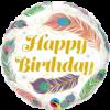 Folieballon Happy Birthday Peacock Feathers