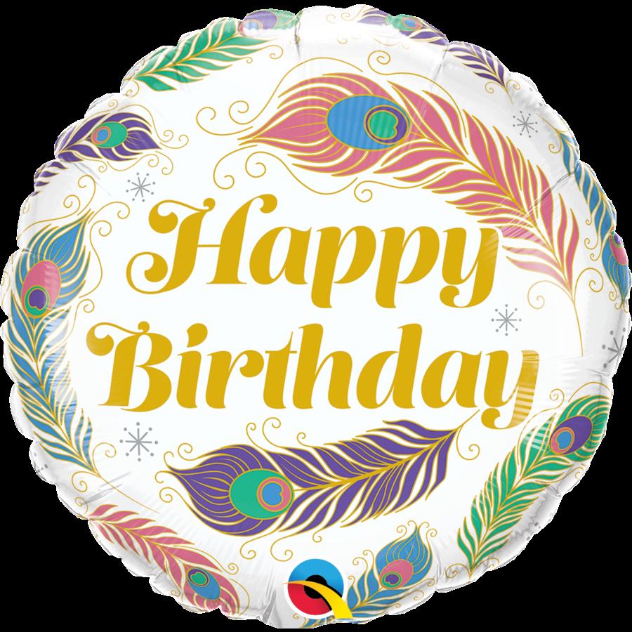 Folieballon Happy Birthday Peacock Feathers-1