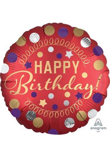 Folieballon Happy Birthday Satijn Rood