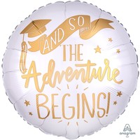 Folieballon The Adventure Begins White