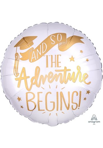 Folieballon The Adventure Begins White - 45cm