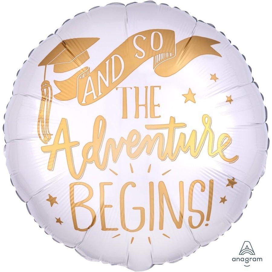 Folieballon The Adventure Begins White-1
