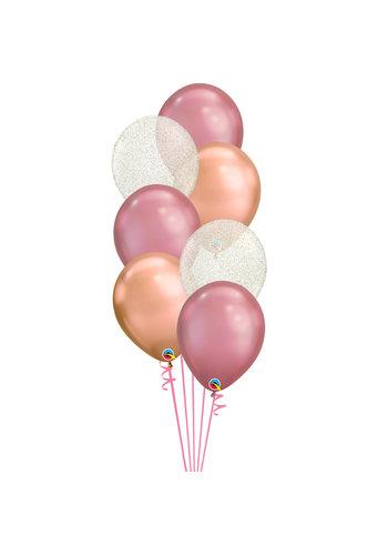 Staander Chrome Glitter - 7 Heliumballonnen