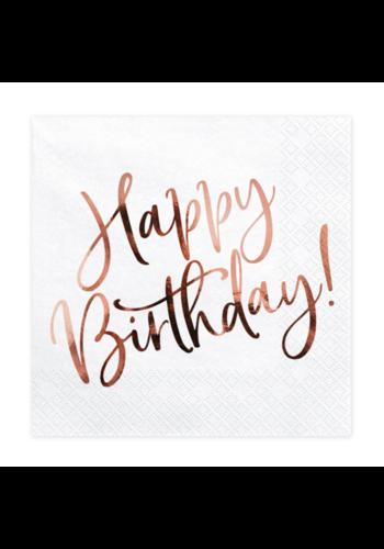 Servetten Happy Birthday Rosé Gold