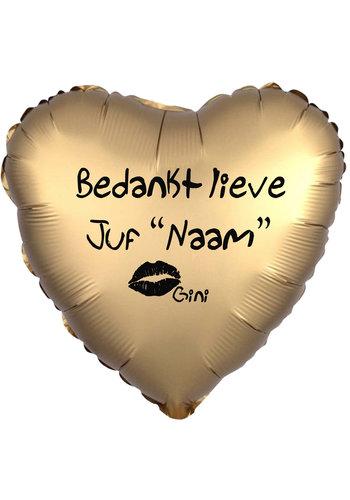 Folieballon Bedankt lieve Juf - Met Naam