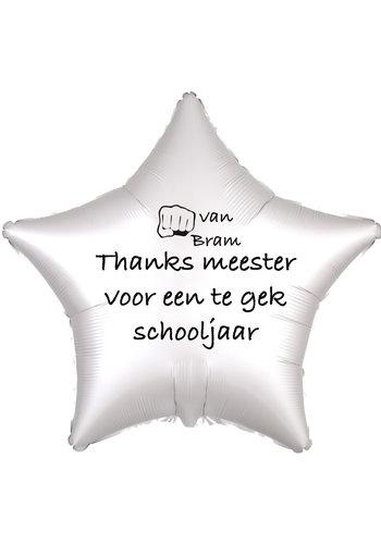Folieballon Thanks meester voor een te gek schooljaar - Met Naam