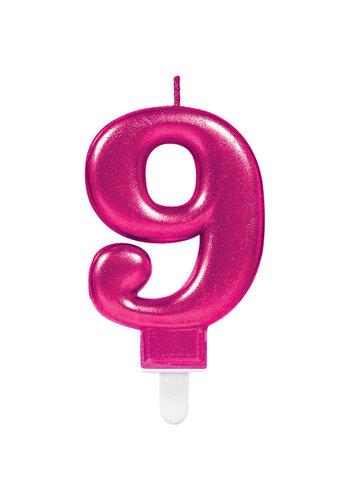 Cijfer kaars 9 - Sparkling Celebrations Roze - 9,3 cm