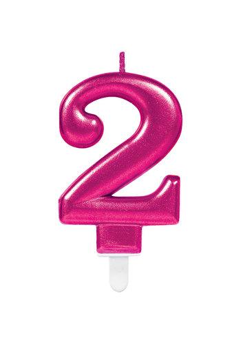 Cijfer kaars 2 - Sparkling Celebrations Roze - 9,3 cm