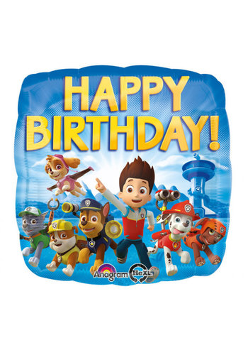 Folieballon Paw Patrol Happy Birthday - 45 cm