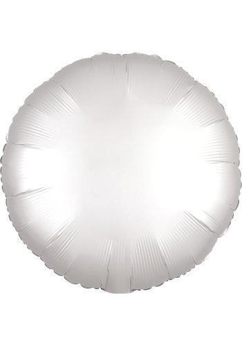 Folieballon Rond Chrome Wit - 45cm