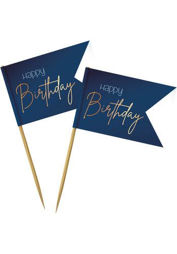 Prikkers Elegant True Blue Happy Birthday - 36 stuks