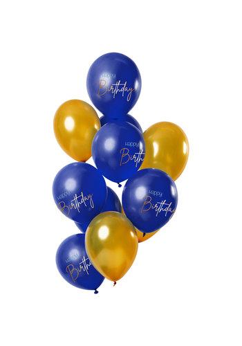 Ballonnen Elegant True Blue Happy Birthday - 30cm - 12 stuks