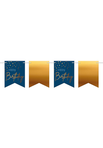 Vlaggenlijn Elegant True Blue Happy Birthday - 6 meter