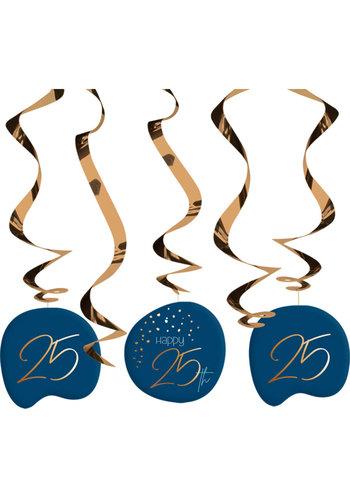 Hangdecoratie Elegant True Blue 25 Jaar - 5 stuks