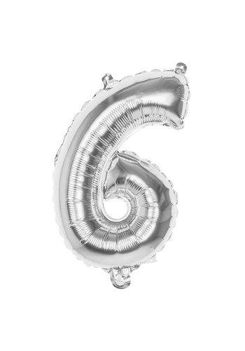 Folieballon cijfer 6 Zilver - lucht gevuld - 36cm