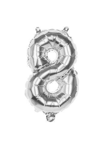Folieballon cijfer 8 Zilver - lucht gevuld - 36cm