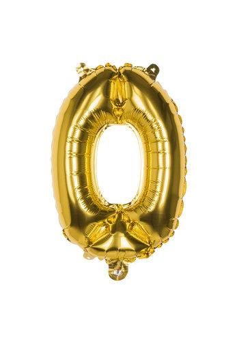 Folieballon cijfer 0 Goud - lucht gevuld - 36cm