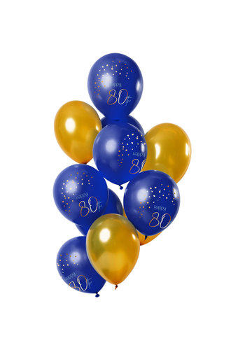 Ballonnen Elegant True Blue 80 Jaar 30cm - 12 stuks