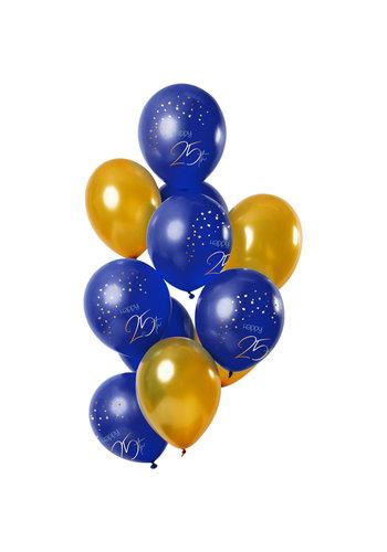 Ballonnen Elegant True Blue 25 Jaar - 30cm - 12 stuks